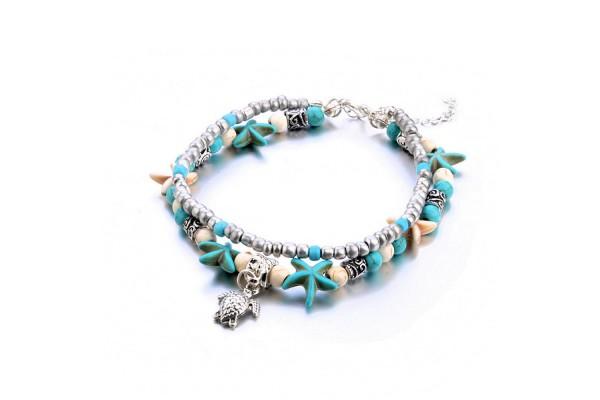 Βραχιόλι Turquoise Beads χάντρες αστερίες χελωνάκια (24+6cm)