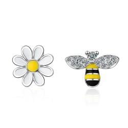 Επάργυρα 925 σκουλαρίκια Bee Sun Flower